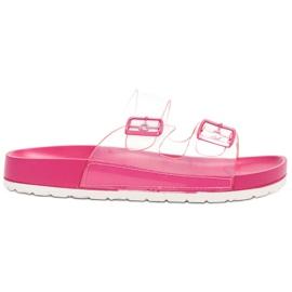 Ideal Shoes -de-rosa Flaps Transparente Se Fivela