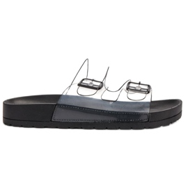 Ideal Shoes Chinelos transparentes com fivela preto