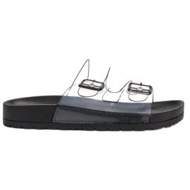 Ideal Shoes preto Flaps Transparente Se Fivela