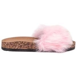 Bona -de-rosa Chinelos Com Peles