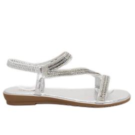 Sandálias de prata assimétricas KM-33 Prata cinza