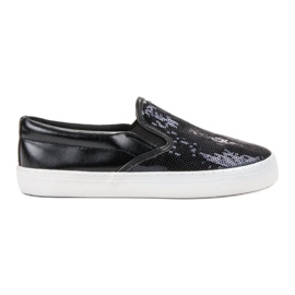 SHELOVET preto Slipons Com Lantejoulas