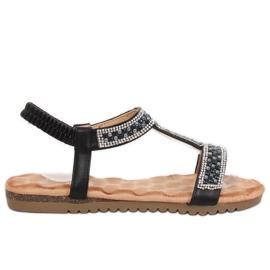 Sandálias das mulheres negras HT-67 Black preto