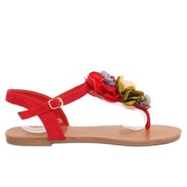 Flip-flops com flores vermelhas L518 Vermelho