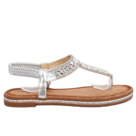 Sandálias prateadas ZY163 Prata cinza