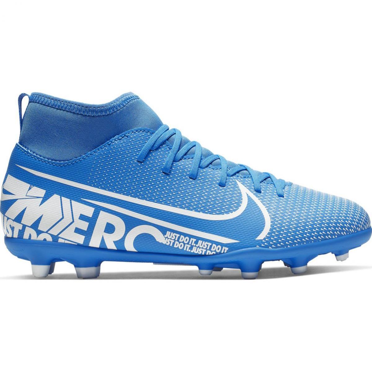 Sapatos de futebol Nike Mercurial Superfly 7 Clube FG MG Jr AT8150 414 azul azul