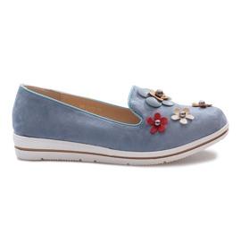 Slip-on azul multi salto de cunha de flor