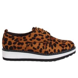 Marrom Mocassins para mulheres leopardo C-7225 Leopard Print