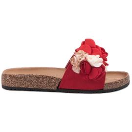 SHELOVET Chinelos com flores vermelho