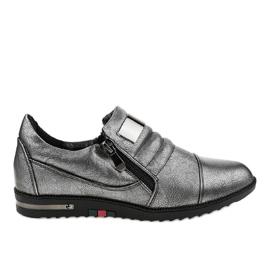 Sapatos cinza com zíper H034