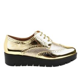 Amarelo Sapatos de cordão em ouro TL-60