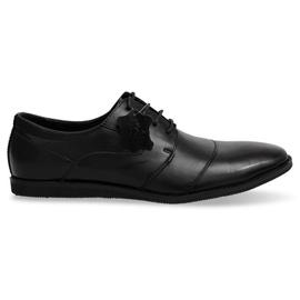 Sapatos de couro com cordão LJ41 Preto