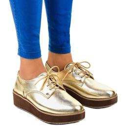 Sapatos de cadarço elegantes dourados 2017-1 amarelo