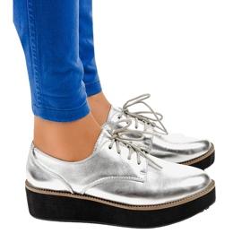 Cinza Sapatos de cadarço elegantes prateados 2017-1