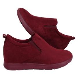 Sapatos em um salto de cunha escondido ZY-7K67 Vermelho