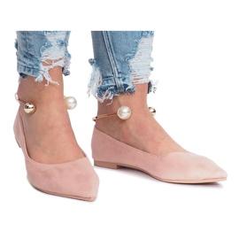 -de-rosa Bailarinas rosa com pérolas de peles