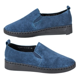 Filippo azul Sapatilhas de couro escorregar