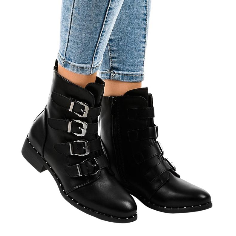 Botas de mulher negra com fivelas S120 preto