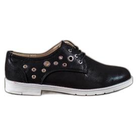 SHELOVET preto Sapatos amarrados com couro ecológico