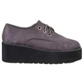 SHELOVET cinza Sapatos de camurça na plataforma