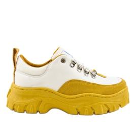Branco e amarelo moda feminina calçados esportivos PF5329