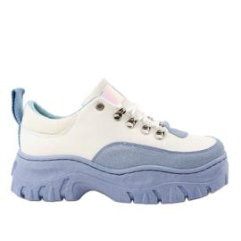 Calçados esportivos femininos em branco e azul PF5329