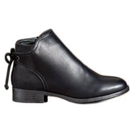 Abloom Botas de couro ecológico com laço preto