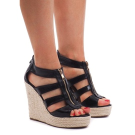 Sandálias de cunha 100-575 Preto