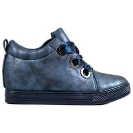 New Tlck Sapatos amarrados com uma fita azul