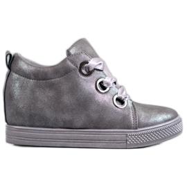 New Tlck Sapatos amarrados com uma fita cinza