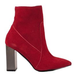 Goodin Botas de couro sexy vermelho