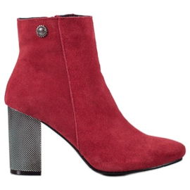 Goodin Botas de couro vermelho