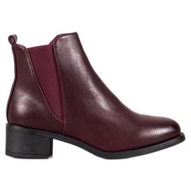 Ideal Shoes Botas clássicas com elástico vermelho
