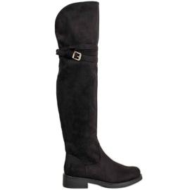 Ideal Shoes Botas na altura da coxa elegantes com uma fivela preto