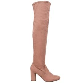 Corina Botas elegantes sobre o joelho -de-rosa