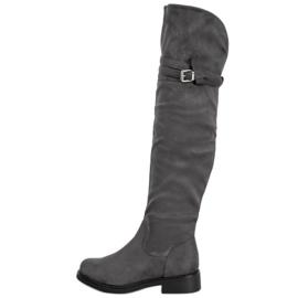 Ideal Shoes Botas na altura da coxa elegantes com uma fivela cinza