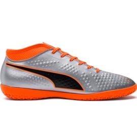 Chuteiras de futebol de Puma One 4 Syn It 104750 01 prata laranja, cinza / prata