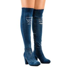 Jeans HX15135-96 com rasgos marinha