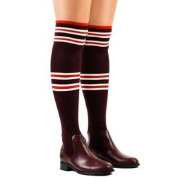 Meias botas cor de vinho Borgonha FD-69 vermelho