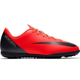 Chuteiras de futebol Nike Mercurial Vapor X 12 Club Gs CR7 Tf Jr AJ3106 600 vermelho