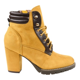Botas de camurça amarela no poste 995-37 amarelo