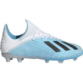 Chuteiras de futebol Adidas X 19.1 Fg Jr F35684 branco, azul
