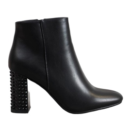 SHELOVET Botas com salto decorativo preto