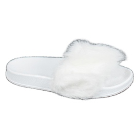 SHELOVET Chinelos de borracha com pêlo branco