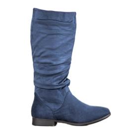 SHELOVET Botas de camurça acima do joelho azul