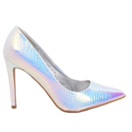 SY54P Pinos holográficos em prata multicolorido