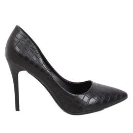 Sapatos de couro preto para mulher preto GG-81P Preto