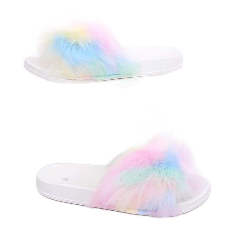 Chinelos com pele arco-íris CK153P Branco multicolorido