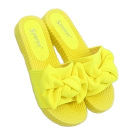 Chinelos femininos amarelos com laço fluorescente YQ225P