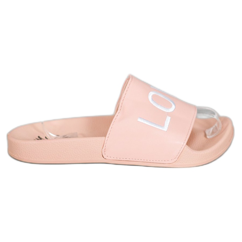 Small Swan LOVE & HATE chinelos de couro ecológico rosa